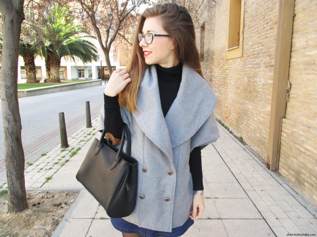 1 Outfit capa gris + DIY falda con botones