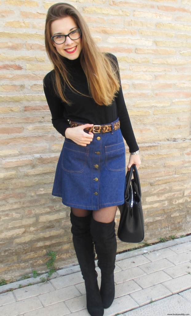 5 Outfit capa gris + DIY falda con botones