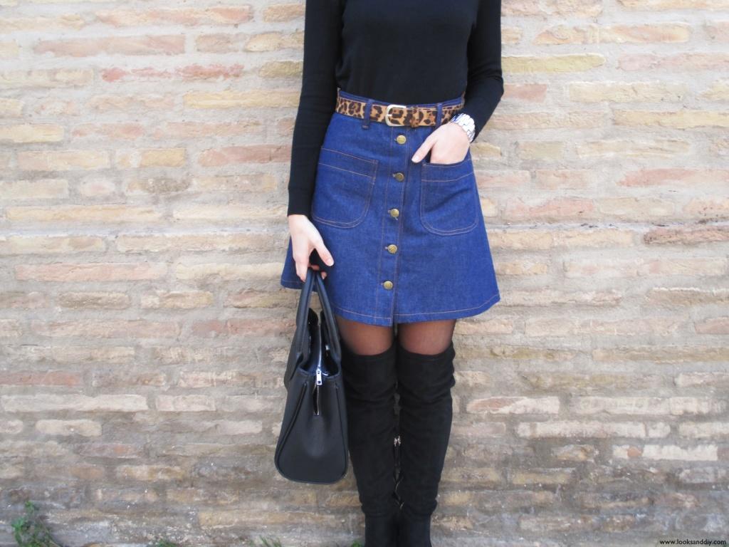 6 Outfit capa gris + DIY falda con botones