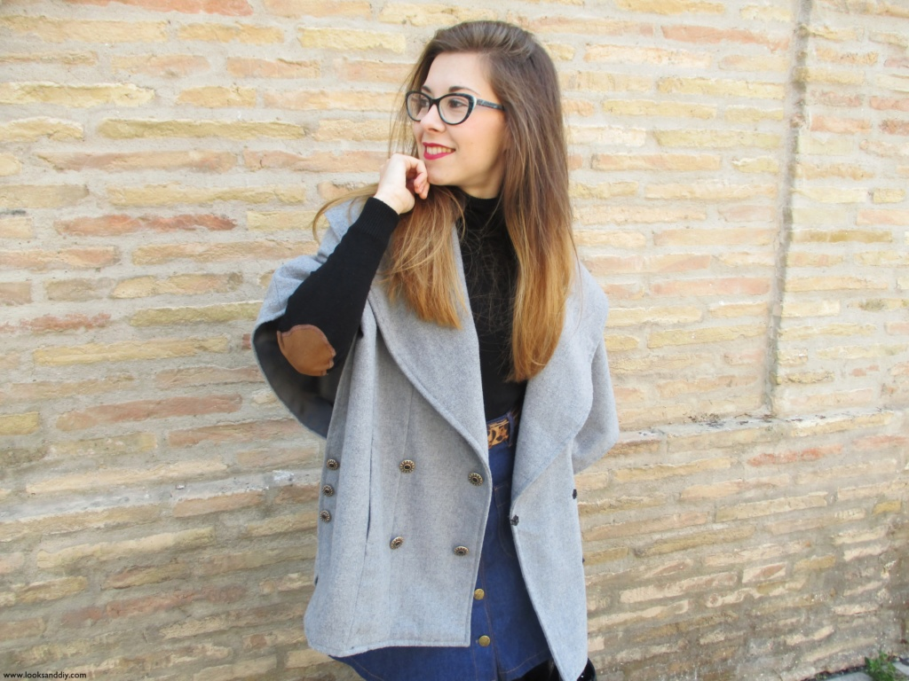7 Outfit capa gris + DIY falda con botones