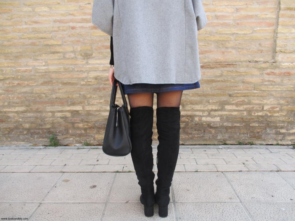 3 Outfit capa gris + DIY falda con botones