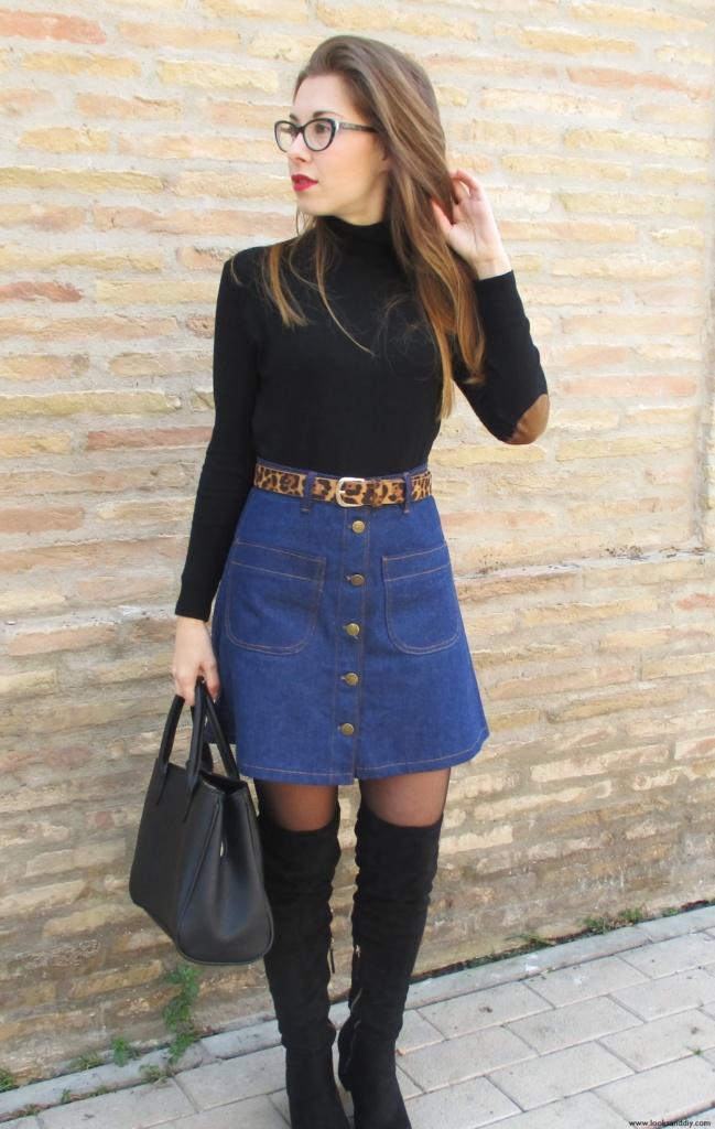 4 Outfit capa gris + DIY falda con botones