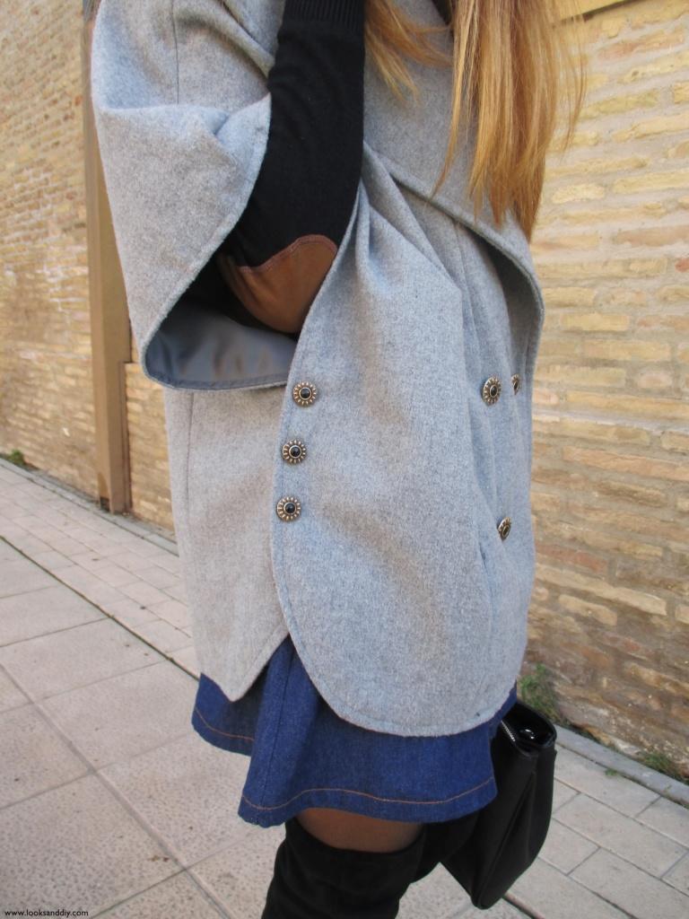 9 Outfit capa gris + DIY falda con botones