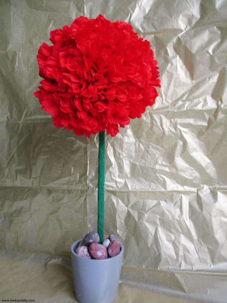 5 DIY topiario con flores de papel-min
